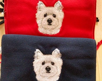 Embroidered West Highland White Terrier (Westie) Scarf