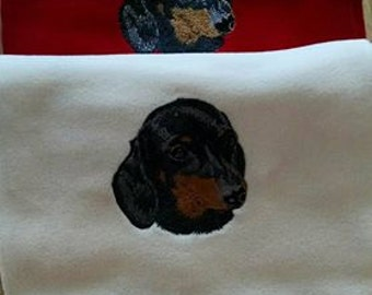 Embroidered Dachshund Scarf