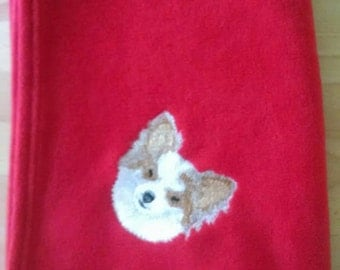 Embroidered Long Haired Chihuahua-Papillon Fleece Blanket