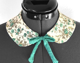 Détachable collar / Peter Pan collar in Flowery Liberty fabric / to tie with a light turquoise link in lace