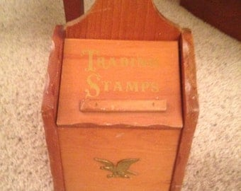 Rare vintage hanging box opens to hold trading stamps and old stamp books