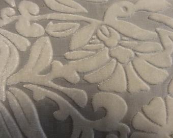 Sheer Ivory Chiffon with Velvet Floral Design