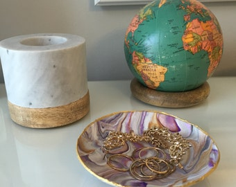 Marbled Ring Dish (Purple, Grey, Gold)