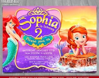 Sofia the first invitation, Princess Sofia Invitation, Sofia Mermaid Invitation, Princess Birthday Invitation, Pool Party, Floating Palace