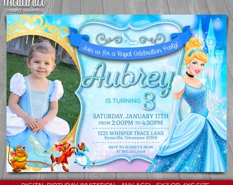 Cinderella Invitation - Disney Cinderella Invite - Cinderella Birthday Invitation - Cinderella Birthday Party with photo