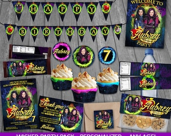 Descendants Party Package - PERSONALIZED - Descendants Birthday Party - Party decoration - cards tags wrappers signs labels toppers Mal