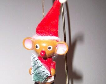 Vintage Mouse Ornament / Wood Mouse Ornament