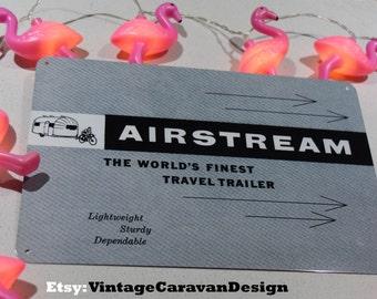 new VINTAGE AIRSTREAM tin SIGN trailer wall art retro metal caravan camper Brochure advert Glamping camping New glamper