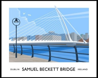 Samuel Beckett Bridge, Dublin - vintage style railway travel poster art of Ireland