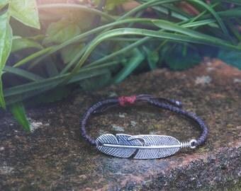 Friendship Bracelet. Feather Bracelet. Adjustable Bracelet. Gift For Her. Handmade Bracelet. Beaded Jewelry. Jewelry Wax Cord Unisex