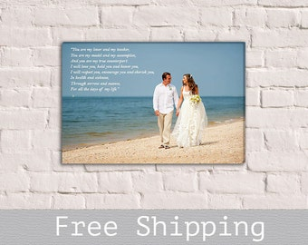 Wedding Vows - Canvas Print- Wedding Photo on Canvas - 1st Anniversary Gift - Wall Decor - Anniversary Gift - Free Shipping
