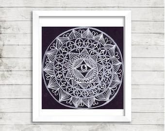 Black and White Mandala Art, Original Drawing