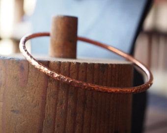 Copper Hammered Bangle 65 mm