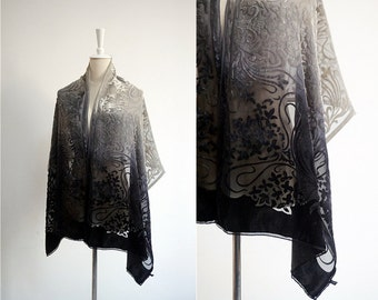 Gradients SILK VELVET women's shawl.Vintage flowers black gray velvet scarf.Piano wrap.Oversize shawl.Velour fabric wrap.Free shipping.