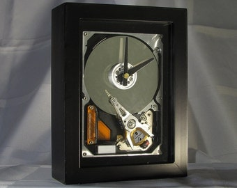 Techie/Nerd/Geek or Birthday gift for anyone who is in information technology. Display/Desktop/Mantel clock made from a computer hard drive