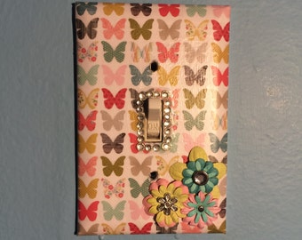 Floral Butterfly Light Switch Plate