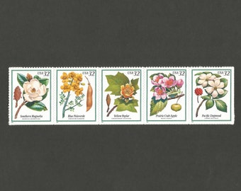 5 Flowering Trees 32 Cent Vintage Postage Stamps, Unused # 3193-3197