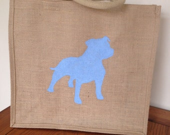 Hand painted jute dog shopping bag- large. Burlap gift bag, hessian tote bag, dog silhouette. Can be personalised in color or add text-
