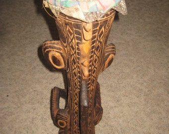 Tribal drum with Alligator or Crocodile carvings.