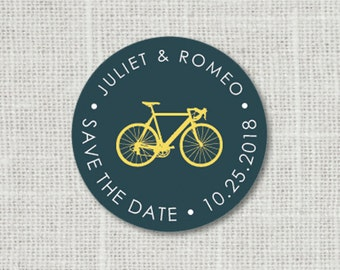 Save the Date Bicycle Sticker, Bike Save the Date Stickers, Wedding Favor Stickers
