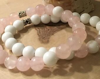Stackable Rose Quartz & Alabaster Gemstone Bead Bracelets