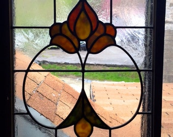 Floral Victorian Stained Glass Panel