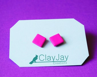Pink square polymer earrings