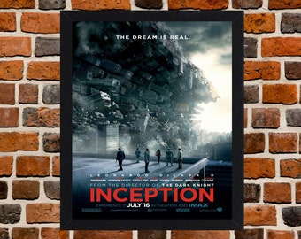 Framed Inception Leonardo DiCaprio Movie / Film Poster A3 Size Mounted In Black Or White Frame (Ref-1)