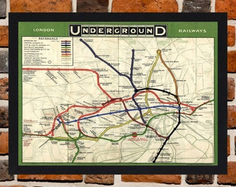 Framed London Underground 1920's Map A4 Size Mounted In Black Or White Frame