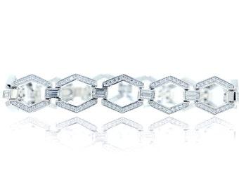 925 Sterling Silver 7.25'' Hexagon Tennis-style Bracelet - 4.03 CT.TW (S192)