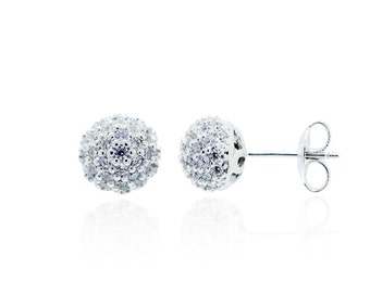 More 20% off! 925 Sterling Silver Clear CZ Ball Stud Earring 0.86 CT.TW