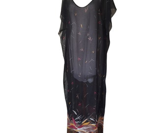 Black Sheer Full Length Kaftan in Rustic Autumn Leaf Digital Print