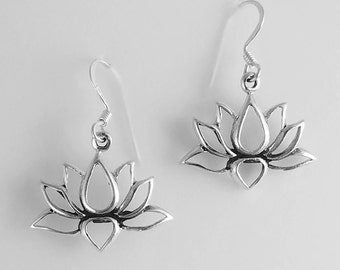 Lotus Earrings~Sterling Silver Lotus Earrings~Water Lily Earrings~Lotus Flower Jewelry~Blooming Lotus~Yoga Inspired~Gift for Her