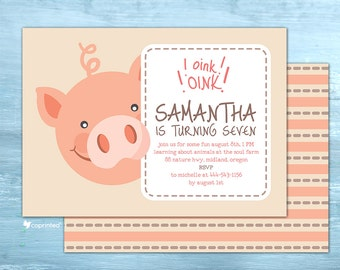 Oink Oink Birthday Party Invitation - birthday party, invitation, outdoor, animals, farming, pig, snout, frame, piggy, cute, oink