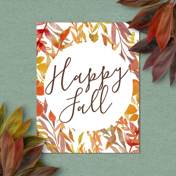 Happy Fall Sign, Fall Art Print, Fall Decor, Fall Wall Art Print, 4x6, 5x7, 8x10, 11x14, 12x16, Autumn Decorations, Fall Leaves, Kitchen Art