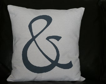Ampersand Pillow, Couples Pillow, Throw Pillow, Decorative Pillow, Whimsical Pillow, Burlap Pillow, 16x16
