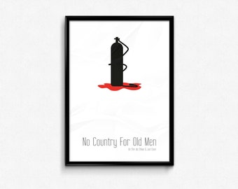 No Country For Old Men Minimalist Movie Poster, Ethan & Joel Coen Movie Poster - English and French Version