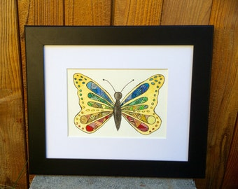 "Original Watercolor and Ink, ""Flutter"" 7 by 5"