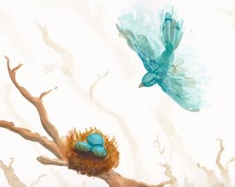 Turquoise Bird and Nest