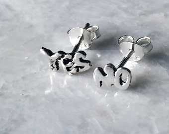 Sterling silver Yes and No ear studs, Silver Yes no ear studs, Yes no earrings, Funky ear studs, Cartilage stud, Minimal earrings (ES44)
