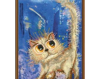 Cross Stitch Kit Midnight walk (cat)