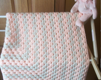 Pink and Cream Crocheted Baby Blanket