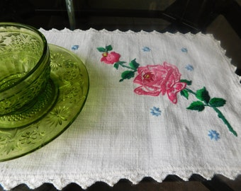 Vintage Hand-Embroidered Cotton Doily