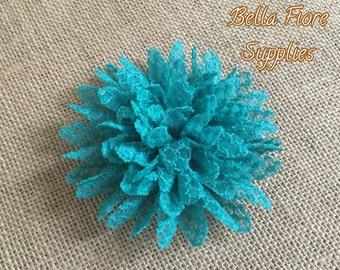 Turquoise  Fabric Flowers, 4 inch, Chiffon Flowers, Lace Flower, Wholesale Flower, DIY Headband