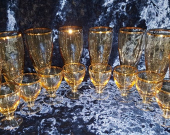 Vintage set of glass and snifter 16 pieces