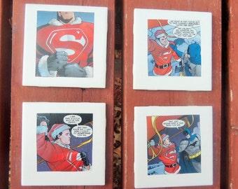 Christmas Superman Coasters // Holiday Comic Book Coasters // DC Comics Coasters