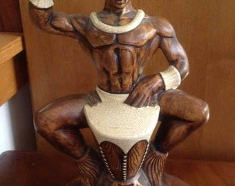 "Vintage ""Treasure Craft"" Ceramic Hawaiian Drummer - Made in Maui, Hawaii - 1960's"