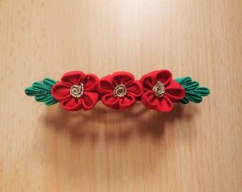Red flowers Strip in tsumami zaiku