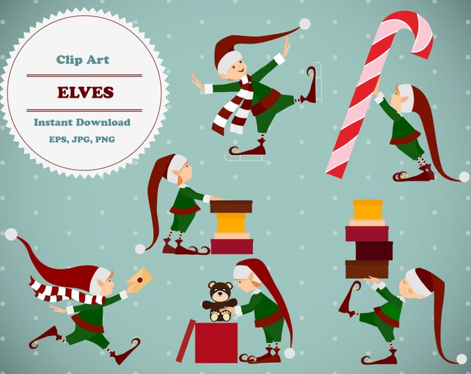 Christmas Elves clipart, Elves clipart, Sticker, Scrapbooking, Instant Download, JPG, PNG, EPS