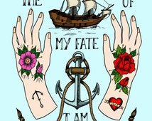 A4 I am the master of my fate, I am the captain of my soul- William Ernest Henley Illustration Poster